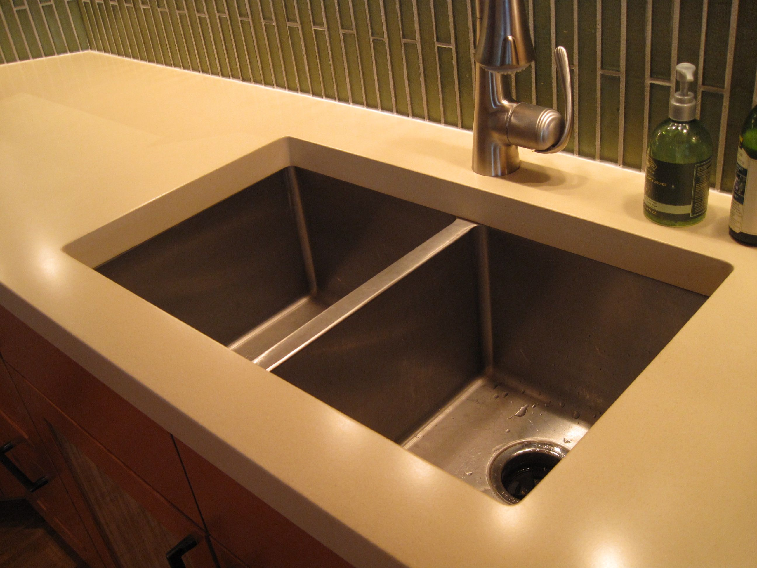 double undermount kitchen sink in white countertop Google Search