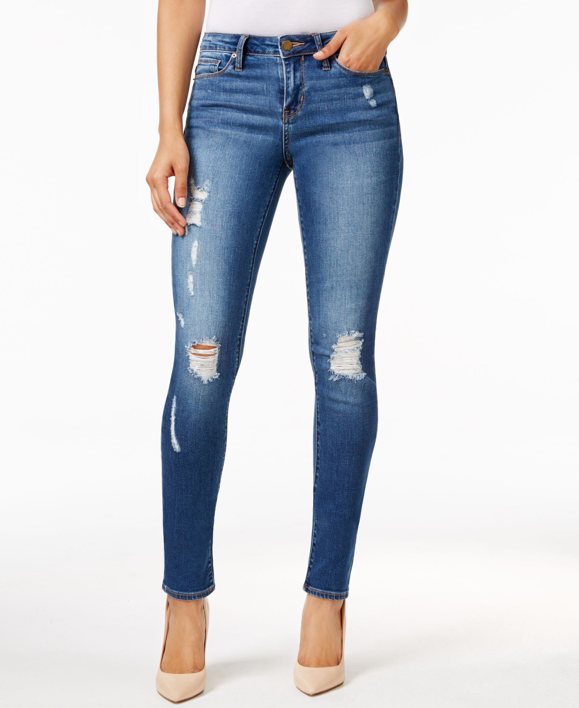 Calvin Klein Jeans Classic Blue Wash Ultimate Skinny Jeans Weiße Zerrissene  Jeans 3f81b69447b