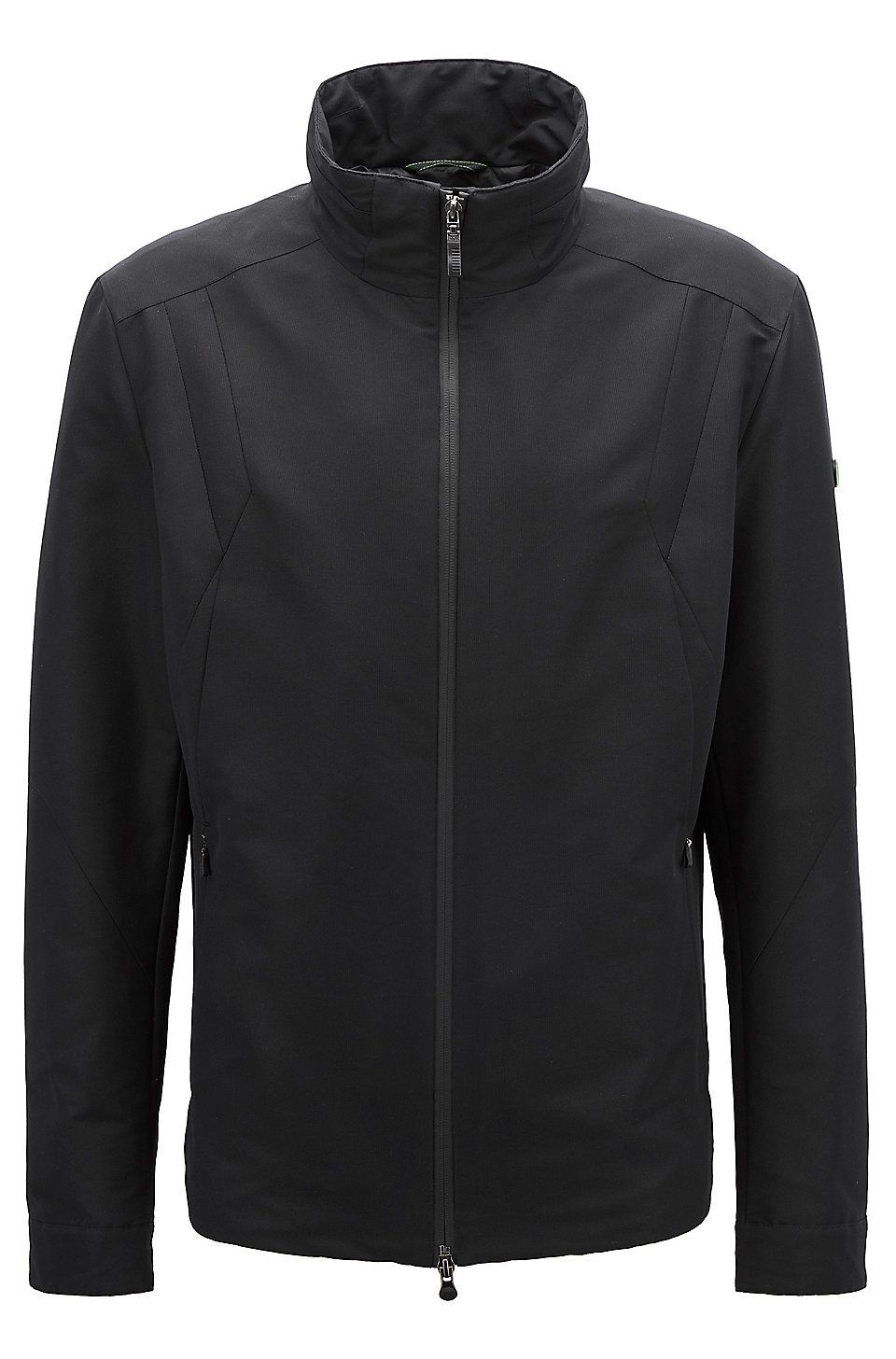 6026369652 HUGO BOSS Zip-front waterproof jacket with electromagnetic-wave blocker -  Black Premium Golf Collection from BOSS for Men in the official HUGO BOSS  Online ...
