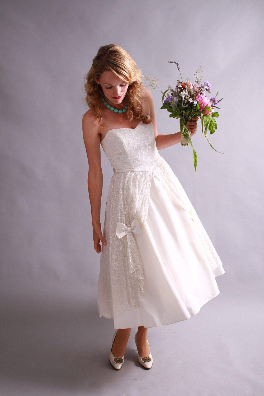 60s strapless cupcake tea length wedding dress 1960s