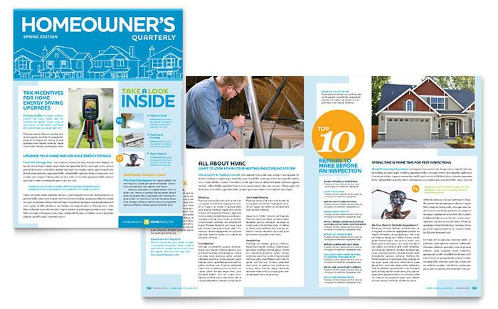 Home Inspection and Inspector Newsletter Template Design by - employee newsletter template