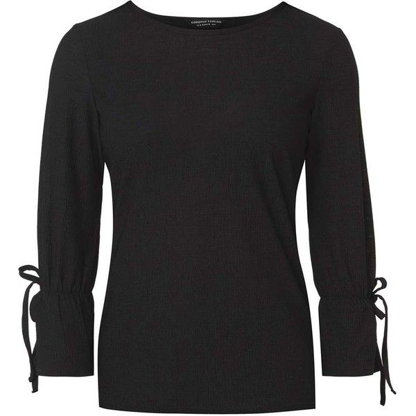 dbac9adeaec39b Dorothy Perkins Black Fluted Sleeve Top (£24) ❤ liked on Polyvore featuring  tops
