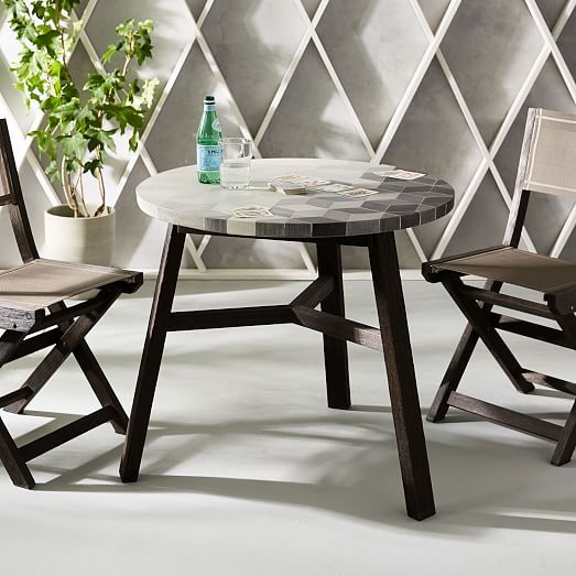 I Love That Back Triangle Wall The Bistro Table Is Really Cute Too Maybe Make One Out Of Bistro Table Outdoor Outdoor Patio Furniture Sets Patio Furnishings