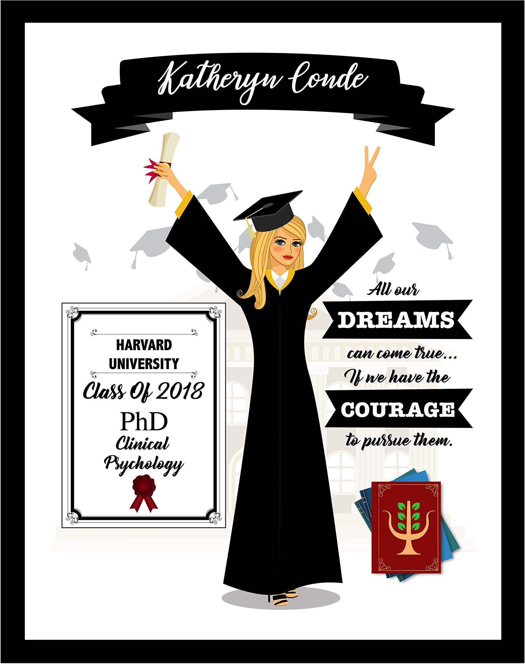 Custom graduation print personalized grad girl