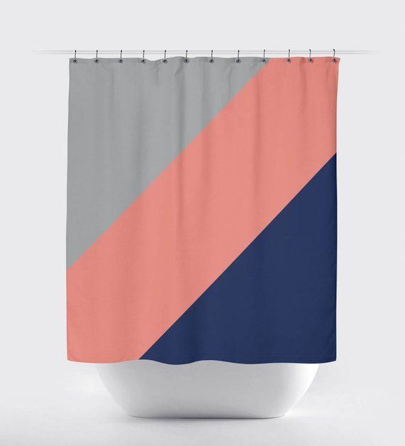 Diagonal Color Block Shower Curtain Grey Navy Blue Coral Or