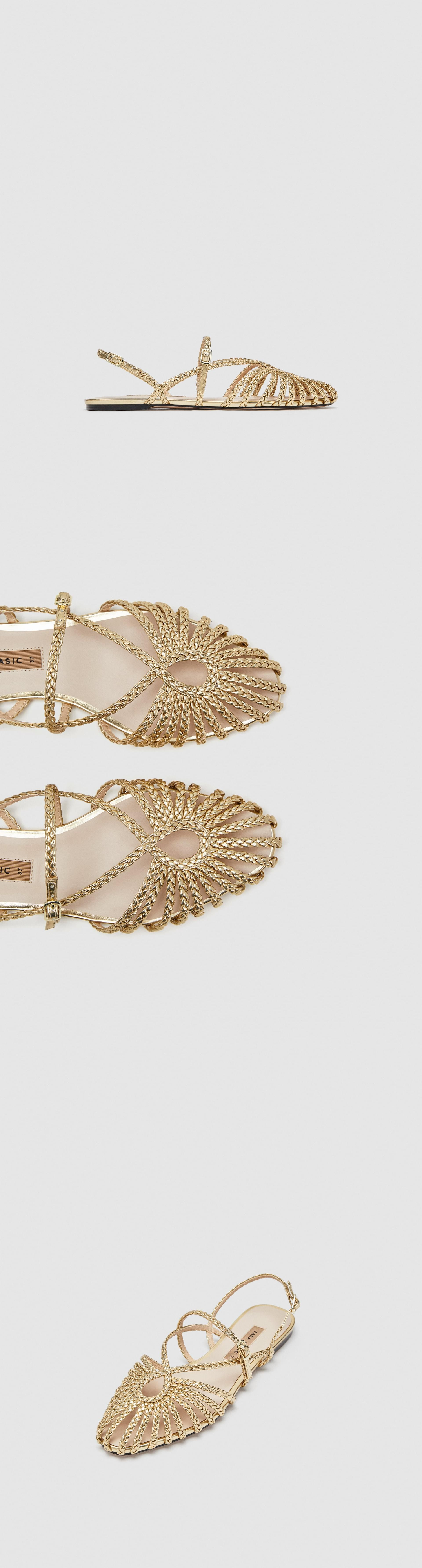 3bcb481bc4a Gold Braided Cage Sandals    49.90 USD    Zara    Gold cage-style ...
