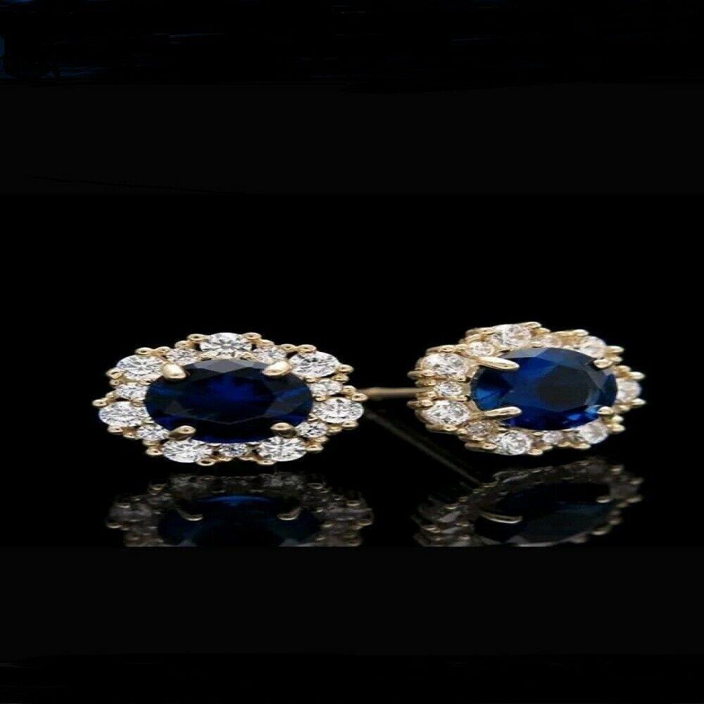1Ct Heart Sapphire Blue /& Diamond 14K Yellow Gold Over Women Halo Studs Earrings