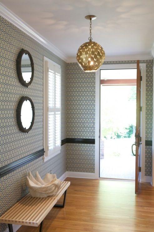 Heather Garrett Design: Modern, Contemporary David Hicks Hexagon Wallpaper  With Glossy Black Chair Rail, Black .
