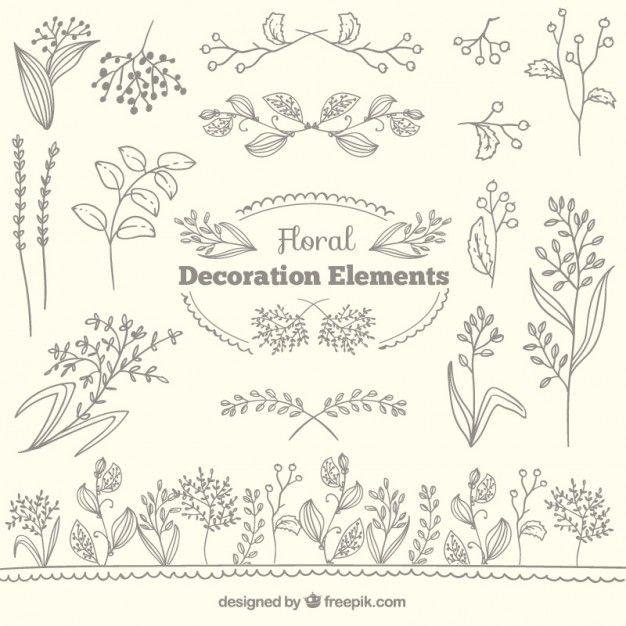 Colección de elementos de decoración floral Vector Gratis | PATTERNS ...