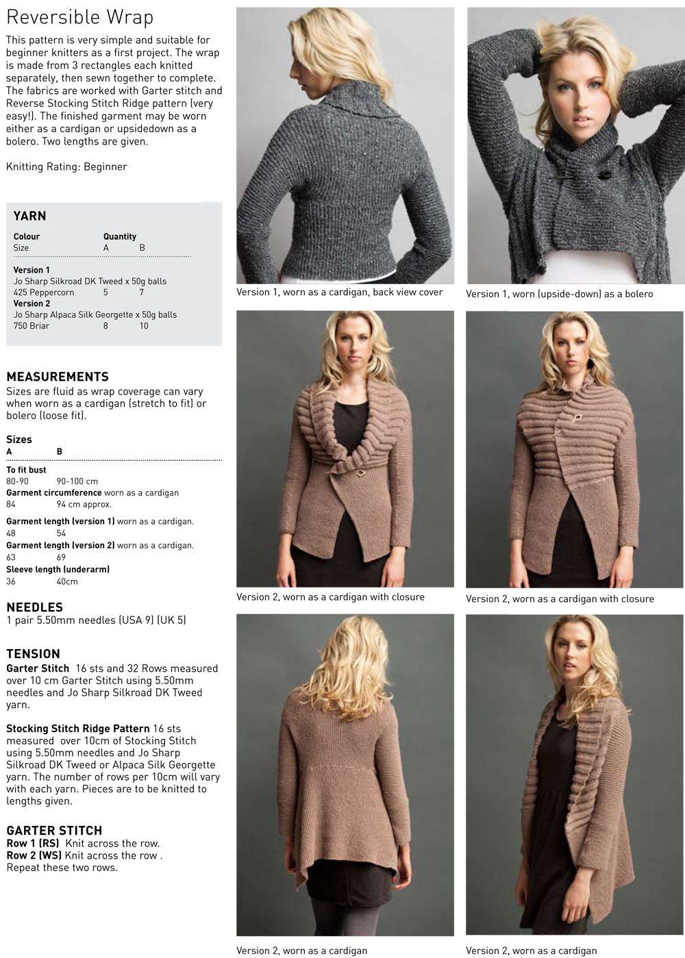 Reversible Wrap. Free pattern that\'s great for beginners. Wear it as ...