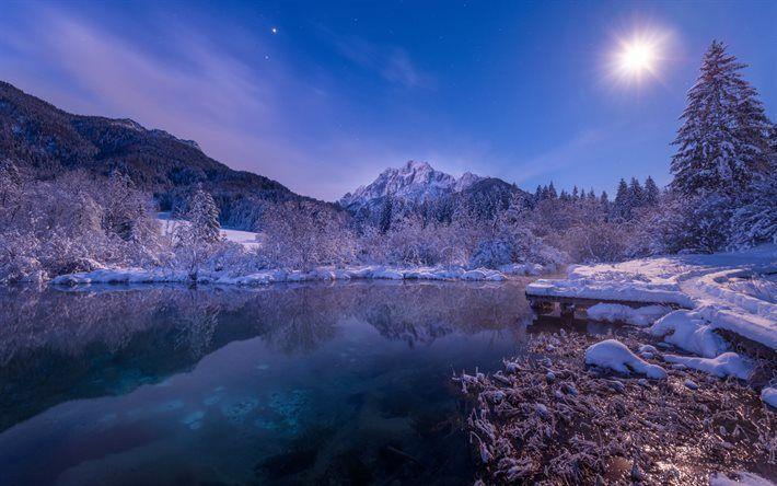 Scarica Sfondi Montagne Inverno Notte Lago Di Montagna Neve