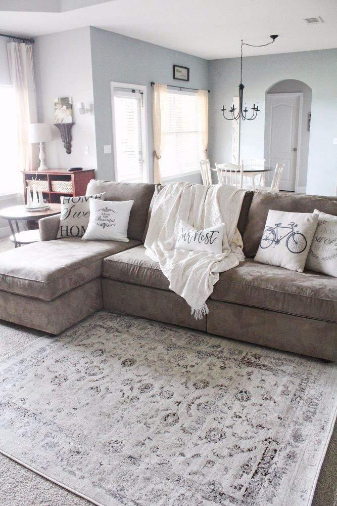 Modern Farmhouse Living Room Makeover Idea | Farmhouse ... on Curtains For Farmhouse Living Room  id=89640