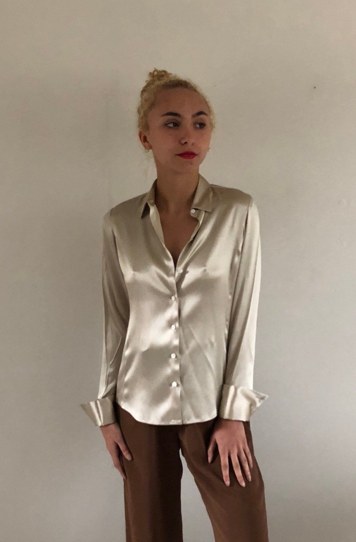 bab377a1249cce 90s silk charmeuse blouse champagne silk button down shirt ...