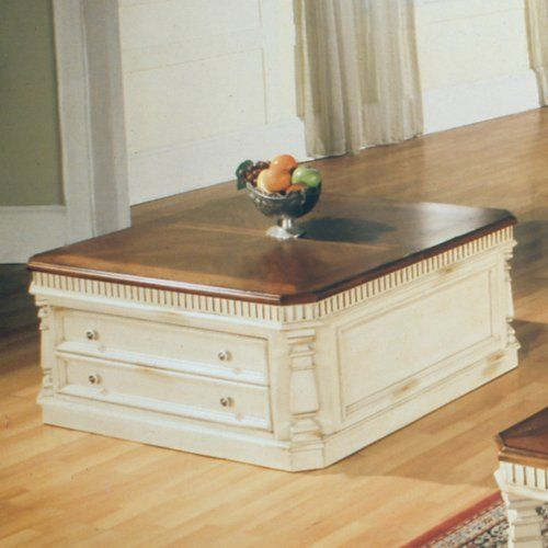 Lift Top Tail Table In Cream And Walnut By Parker House Save 13 Off 538 65 Ious Drawers Handy Rolling Casters