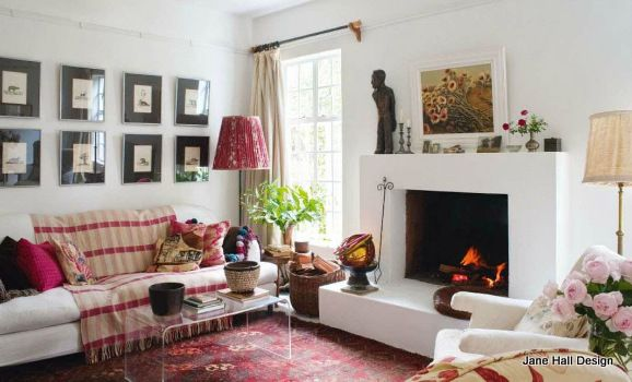 Country Style Living Room With Paprika Red Decorative Accessories