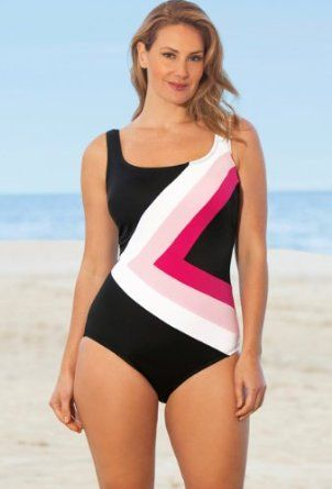 63bb5e4f52 Beach Belle Perfection Plus Size Spliced Swimsuit Women's Swimwear - Multi  - Size:20W Beach Belle. $39.99