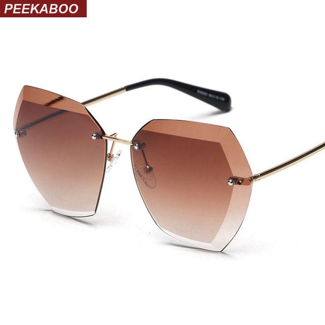 Peekaboo oversized rimless sunglasses female brand high quality gradient women rimless sun glasses fashion 2017 uv400