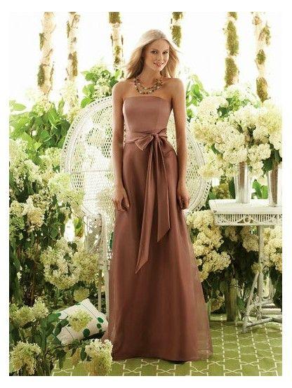 Strapless Natural Waist Long Satin Brown Wedding Guest Dresses Dresses Elegant Bridesmaid Dresses Classy Gowns