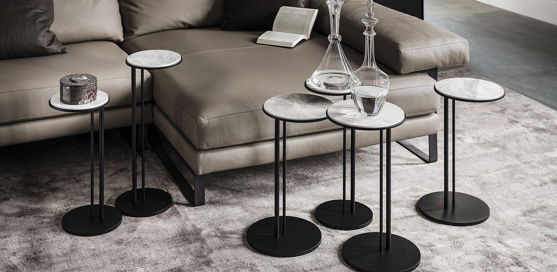 Sting Nouveautes Table Basse Avec Base En Acier Gaufre Titane