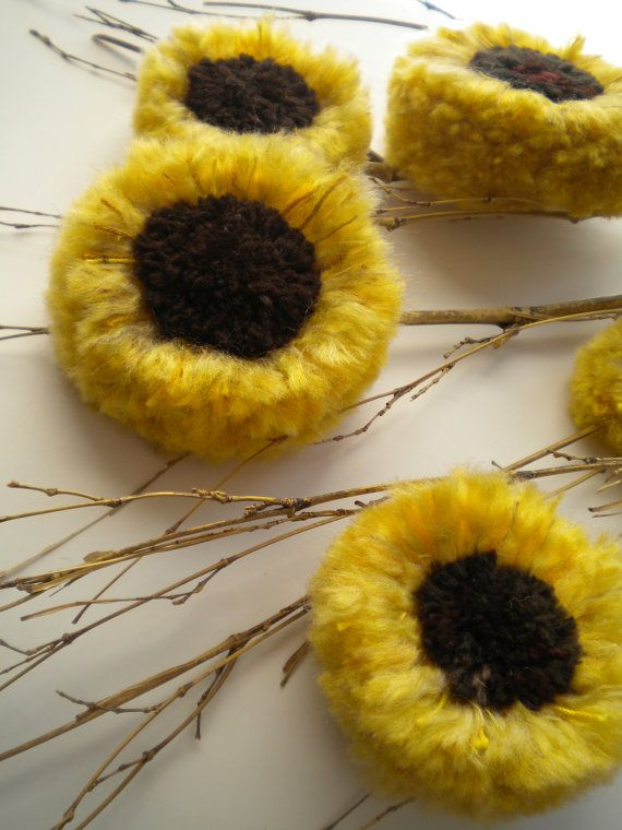 SUNFLOWERS  Mother's Day  Yellow and Brown  by BlueRidgeMercantile, $38.00