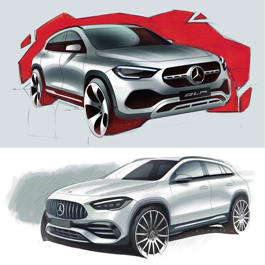 Sketches of the 2021 MercedesBenz GLA by Balazs Filczer