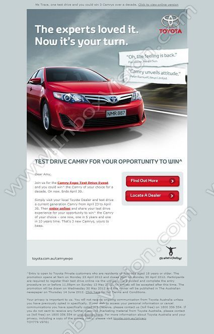 company  toyota cars  australia  subject  ms trace  one test drive and you could win 3 camrys