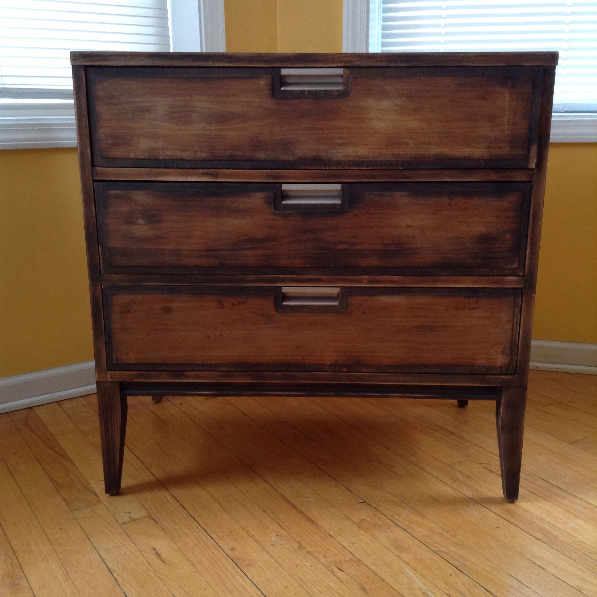 Attirant Torched And Distressed Petite MCM Dresser   Dark Edges Fading Into A Golden  Brown Center. # Rustic , Mid Century , Torched , Chicago Fire Furniture