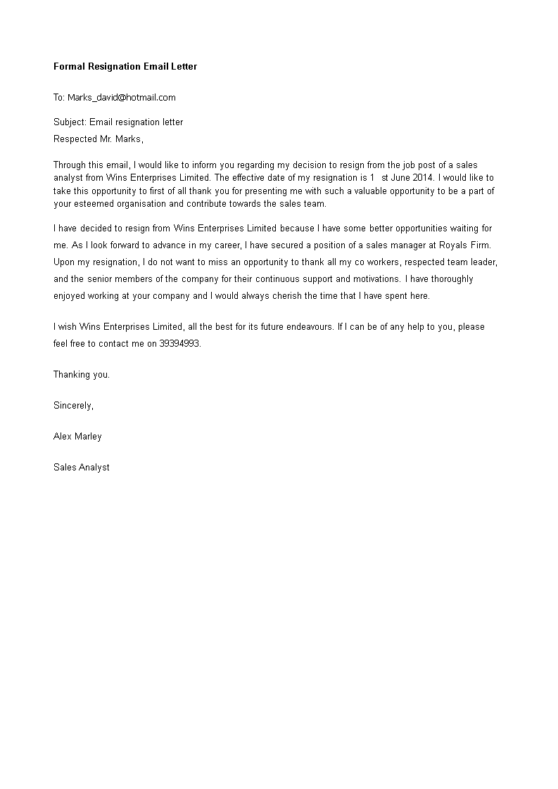 formal resignation email letter how to write a formal resignation email letter download this