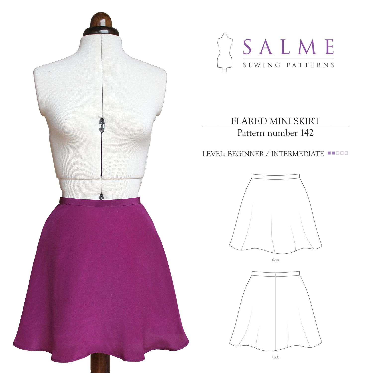 Salme Sewing Patterns 142 Flared Mini Skirt Downloadable Pattern ...