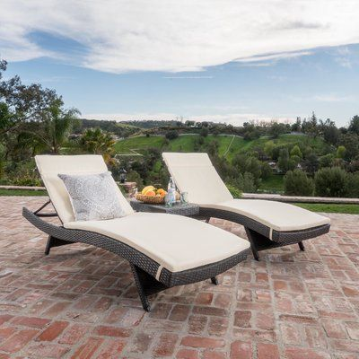 Brayden Studio Dery Wicker Chaise Lounge with Cushion and Table Fabric: