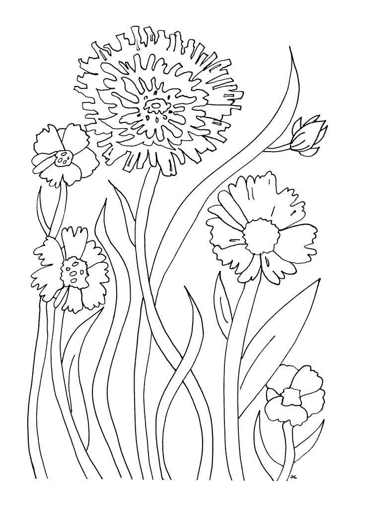 Único Páginas Simples Para Colorear De Flores Componente - Ideas ...