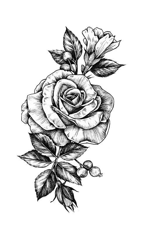 Rose Noir Et Blanc Dessin Sorcellerie Pinterest Tatouage Rose