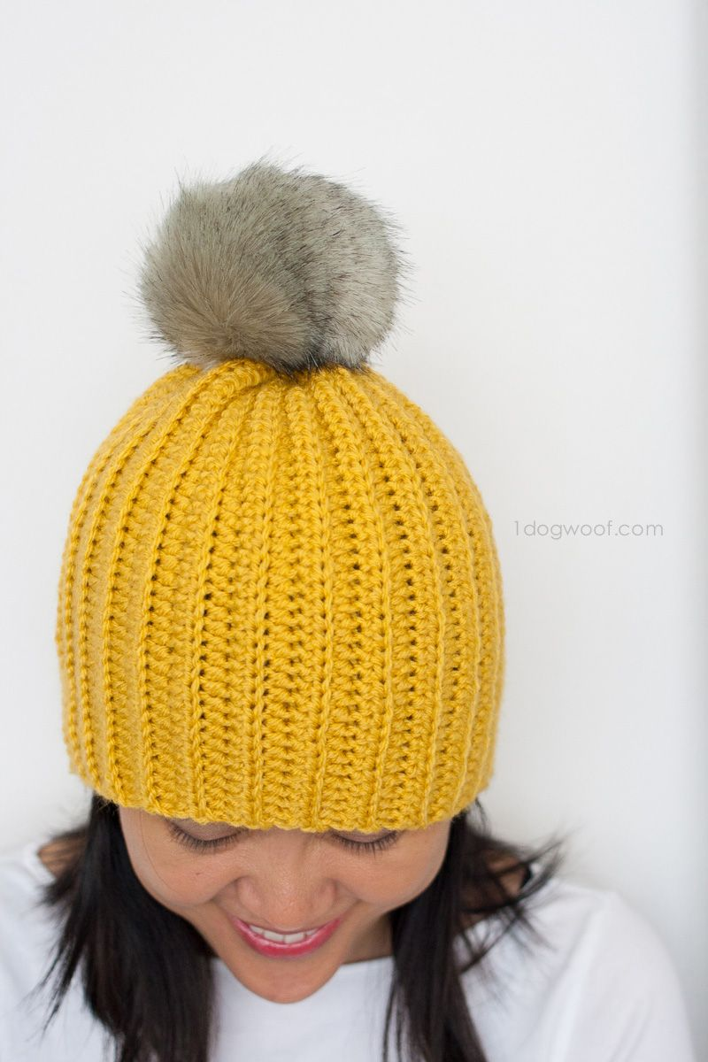 Lolly-Poms Easy Ribbed Crochet Beanie | Free pattern, Crochet and Easy