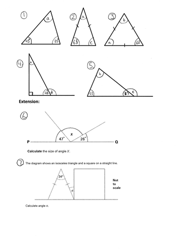 Ks2 Missing Angles In A Triangle Year 4 5 6 Worksheet