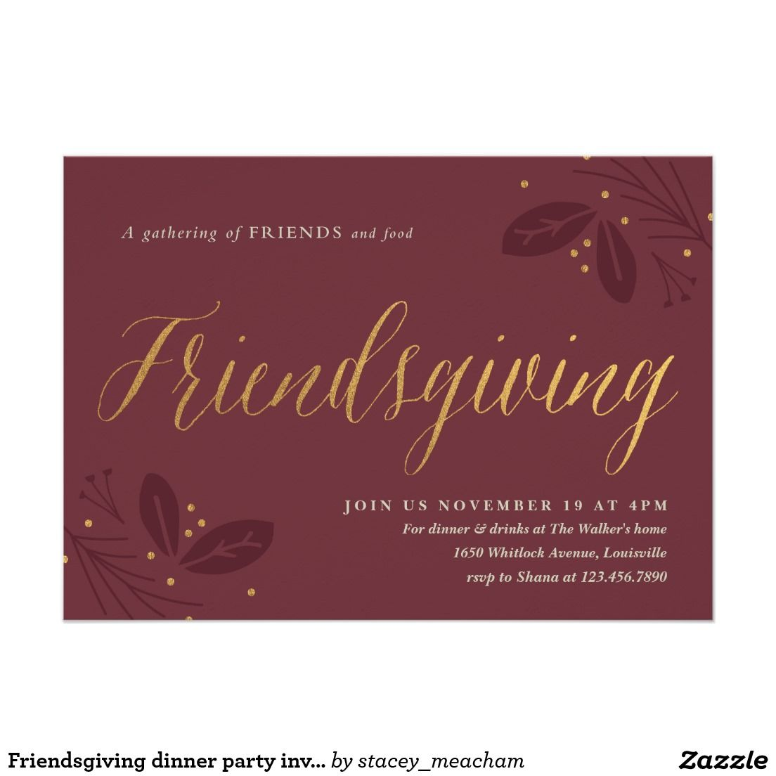 Friendsgiving dinner party invitation. Customize Yours Today ...