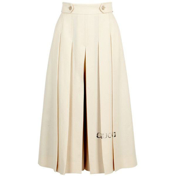 788a95ef8 Gucci Ivory Pleated Wool Culottes ($1,100) ❤ liked on Polyvore featuring  pants, ivory pants, white trousers, pleated wool pants, woolen pants and  pleated ...