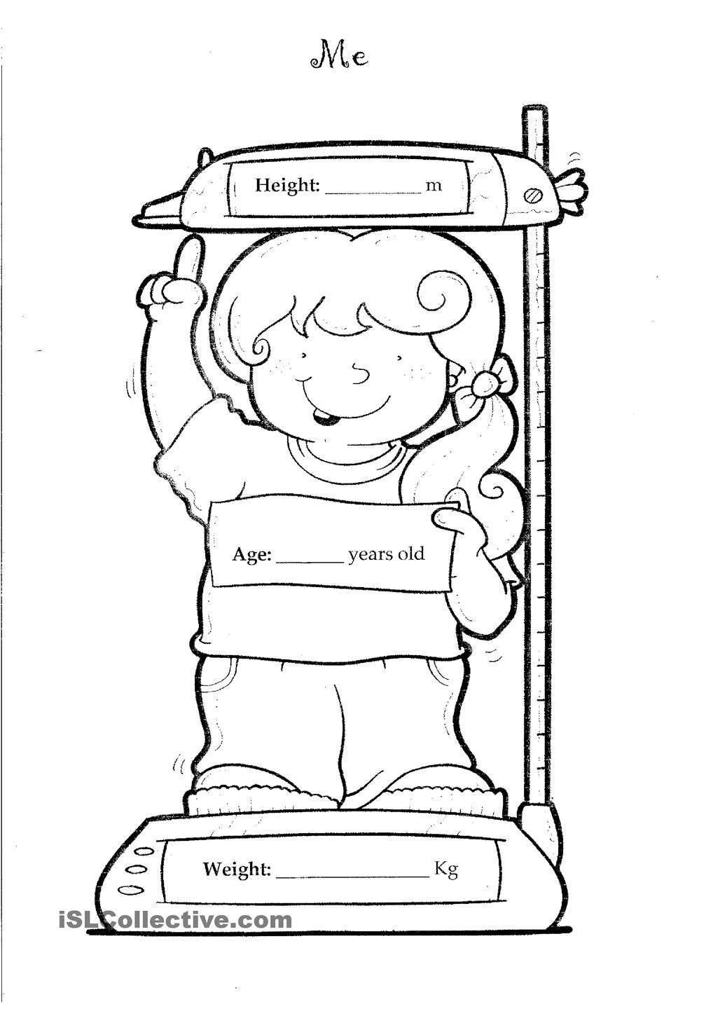 Height And Weight All About Me Worksheet Pinterest