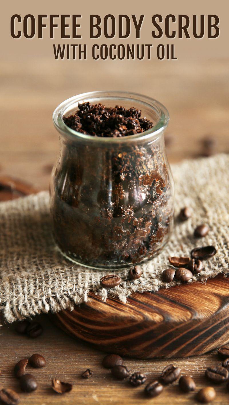 Coffee body scrub in glass jar on wooden table coffee
