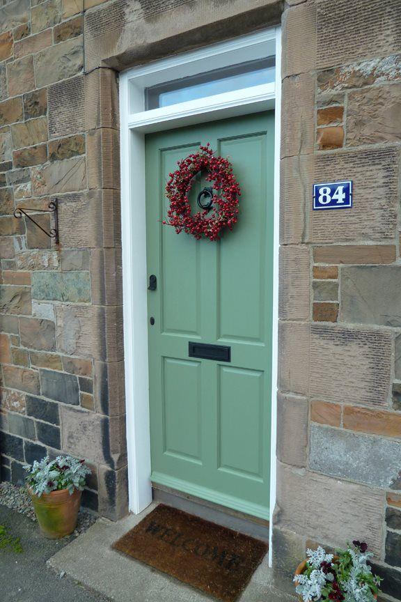 Krista 39 s festive front door in farrow ball 39 s calke green estate eggshell farrow ball - Farrow and ball exterior paint colors model ...
