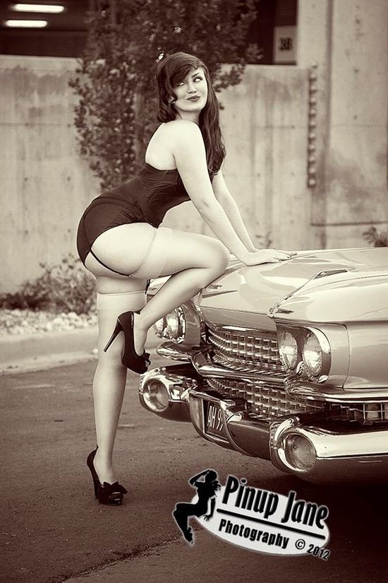 Share Rockabilly girls bent over cars think