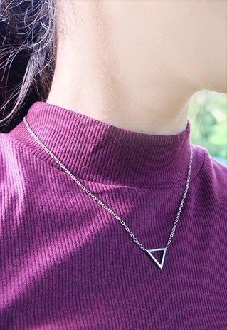 Triangle+Silver+Necklace