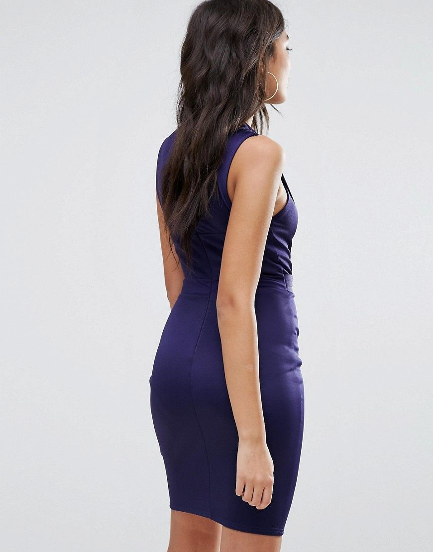 Lipsy belted pencil dress with split detail blue lipsy and products