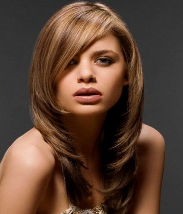 Long, Side-Swept Bangs Paired With Layers | Great hairstyles ...