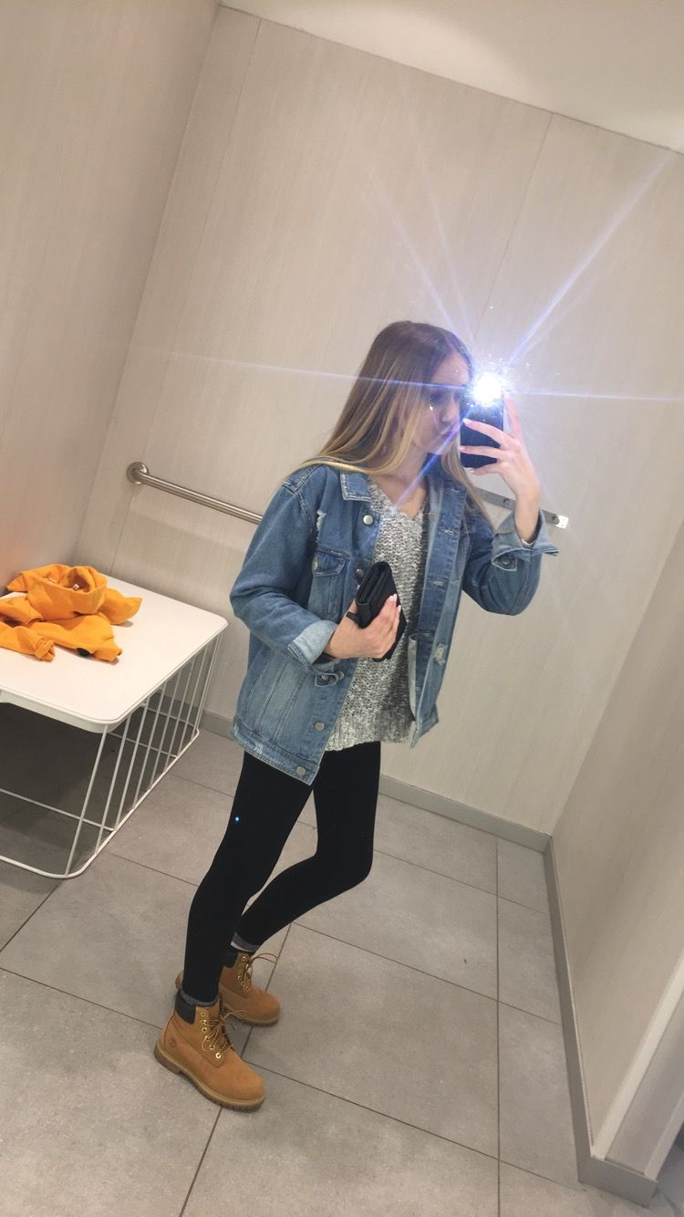 Jean Jacket Outfit Timberland Outfit Grey Sweater