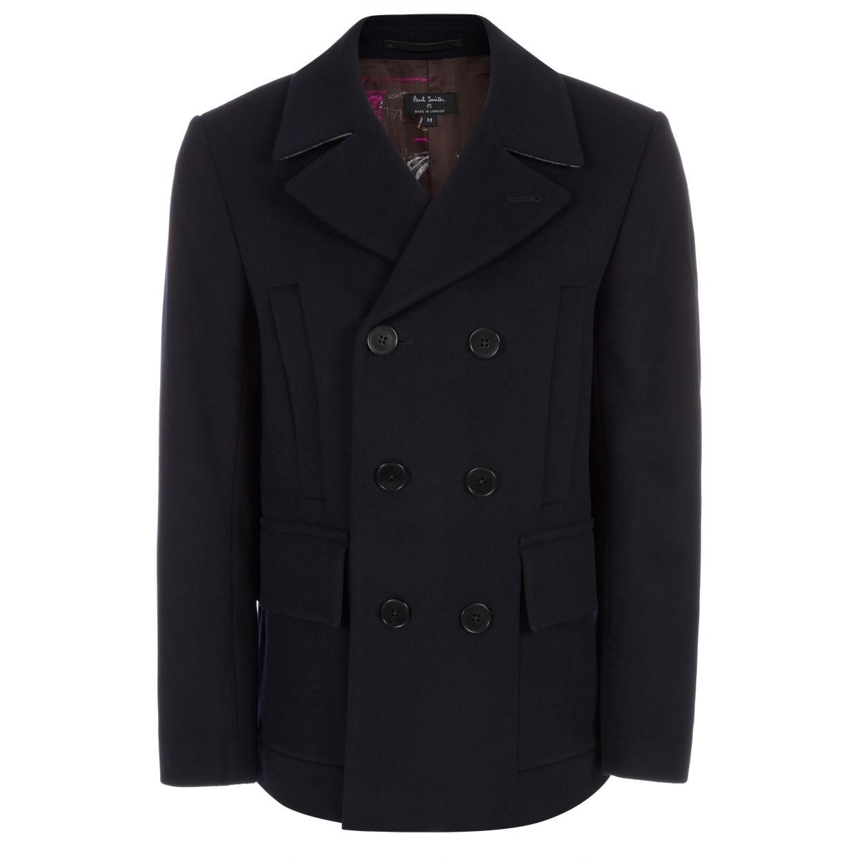 Paul Smith Men's Coats | Navy Wool-Cashmere Double Breasted Pea ...