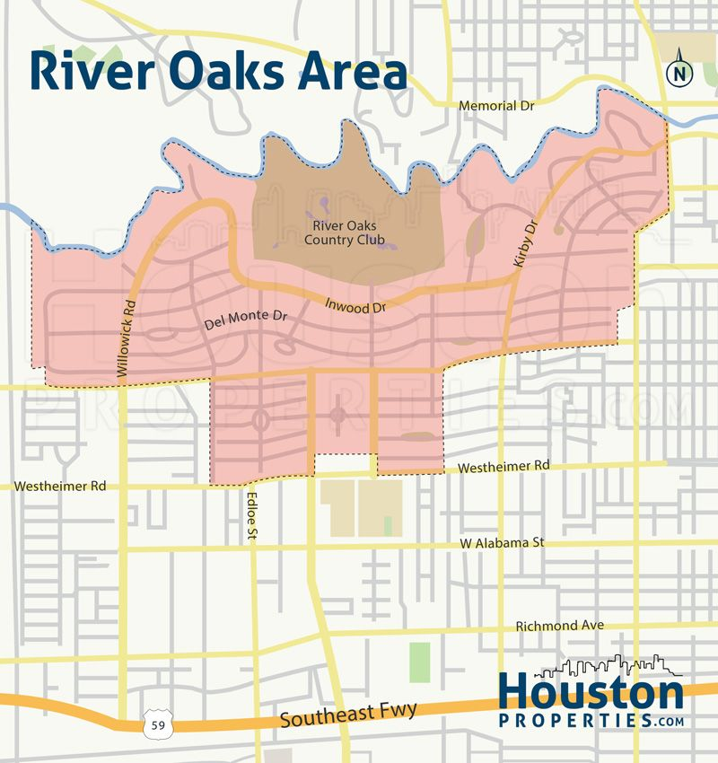 Inner Neighborhood Map Of River Oaks Houston Great Maps Of Houston