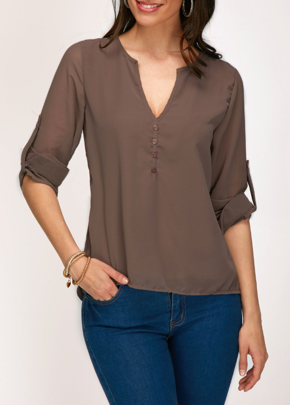 Three Quarter Sleeve Coffee V Neck Blouse on sale only US