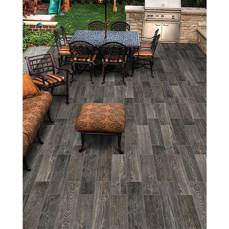 Shop FLOORS 2000 12-Pack Forest Black Glazed Porcelain Indoor/Outdoor Floor Tile (Common: 6-in x 24-in; Actual: 5.75-in x 23.75-in) at Lowes.com