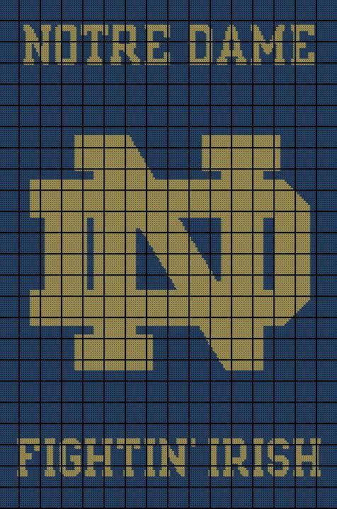 $5 Notre Dame Fighting Irish Crochet Afghan Pattern - University ...