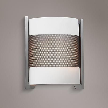 Iron Brushed Steel 11 3 4 High Opal Glass Wall Sconce 7x606 Lamps Plus Wall Sconces Glass Wall Sconce Brushed Steel